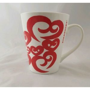 Starbucks Coffee Cup Mug 2016 Red Hearts 12 Oz